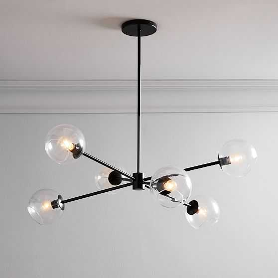 Staggered Glass Burst Chandelier With Light Bulb, Clear & Bronze - West Elm