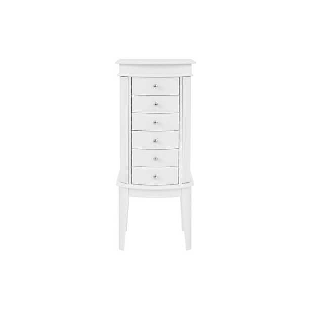 StyleWell 6 Drawer White Wood Jewelry Armoire with Curved Detail (16.90 in W. X 40.50 in H.) - Home Depot