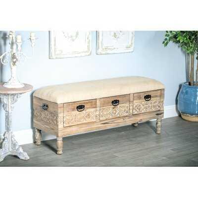 Gorgias Rustic Solid Wood 3-Drawer Storage Bench - Wayfair