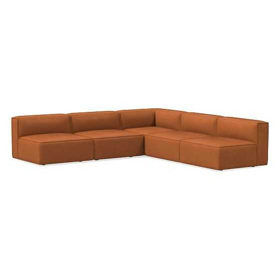 Remi Sectional Set 03: Armless Single, Corner, Armless Single, Memory Foam, Vegan Leather, Saddle, Concealed Support - West Elm