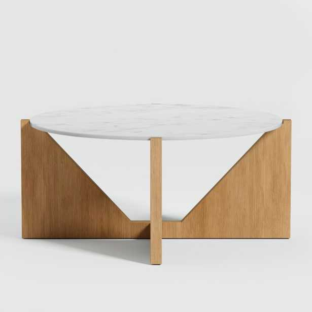 Miro White Marble Coffee Table with Natural Wood Base - Crate and Barrel