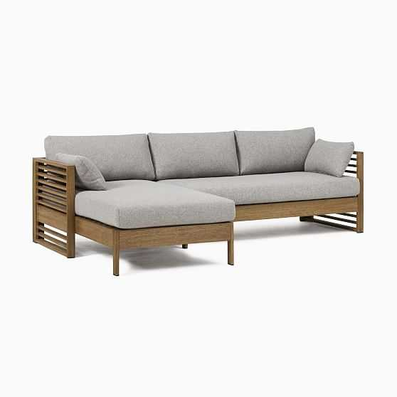Santa Fe Slatted 2 Pc Sectional Set 2: Left Arm Chaise + Right Arm Sofa, Driftwood/Gray - West Elm