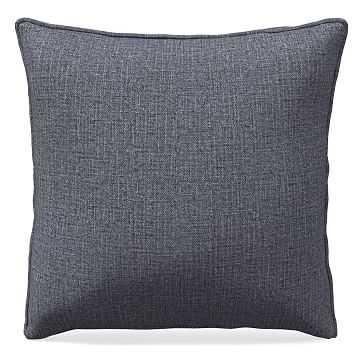 "24""x 24"" Welt Seam Pillow, N/A, Performance Yarn Dyed Linen Weave, Graphite, N/A - West Elm"
