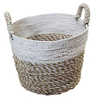 Handwoven Seagrass & Raffia Wicker/Rattan Basket - Wayfair