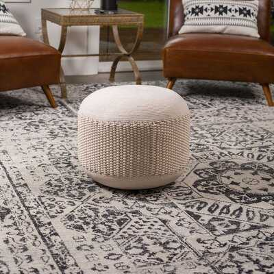Dovecove Outdoor Pouf Ottoman - Natural - Woven Indoor Or Backyard Patio Use - Floor Footstool For Living Room- Knit Bean Bag - Oversized Padded Chair - Moroccan Foot Rest - Wayfair
