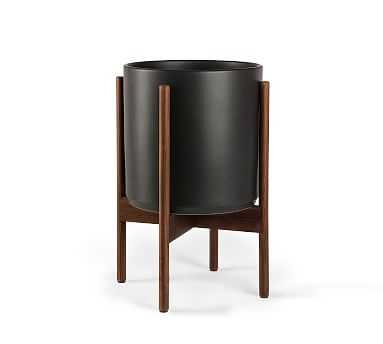 Modern Ceramic Planters with Wooden Stand, Black - Small - Pottery Barn