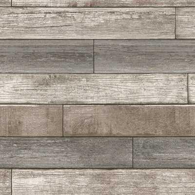 """Beshears 18' x 20.5"""" Reclaimed Wood Plank Wallpaper Roll - AllModern"""