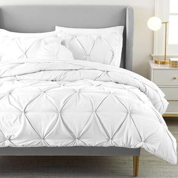 Recycled Microfiber Pintuck Comforter, Full/Queen, White - Pottery Barn Teen