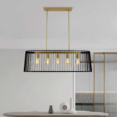 5 - Light Kitchen Island Square Chandelier With Wrought Iron Accent - Wayfair