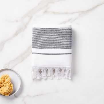 Organic Turkish Tassel Towel, Hand Towel, Black - West Elm