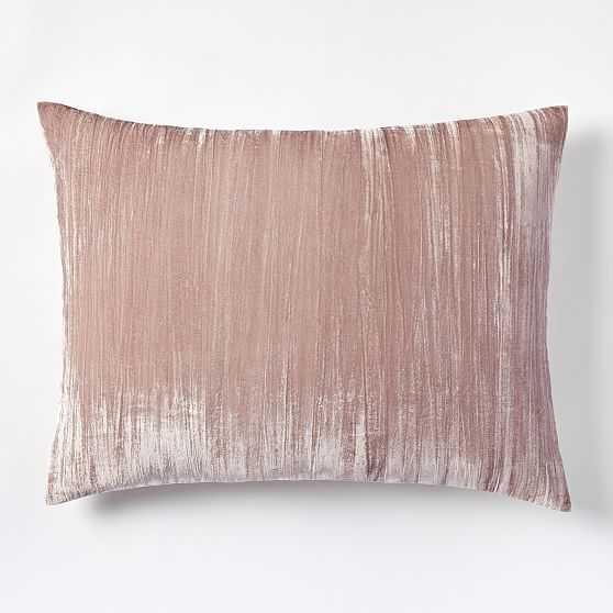Lush Crinkle Velvet Standard Sham, Dusty Blush, Set Of 2 - West Elm