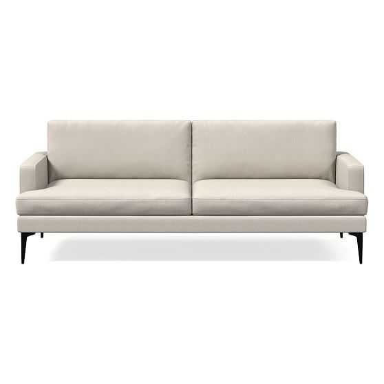 Andes Futon, Poly, Yarn Dyed Linen Weave Stone White, Dark Pewter - West Elm