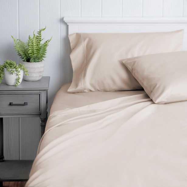 WELHOME The Premium Cotton Sateen Blush Queen Sheet Set - Home Depot