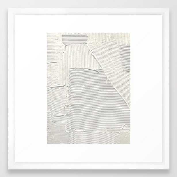 Relief [2]: An Abstract, Textured Piece In White By Alyssa Hamilton Art Framed Art Print by Alyssa Hamilton Art - Vector White - MEDIUM (Gallery)-22x22 - Society6