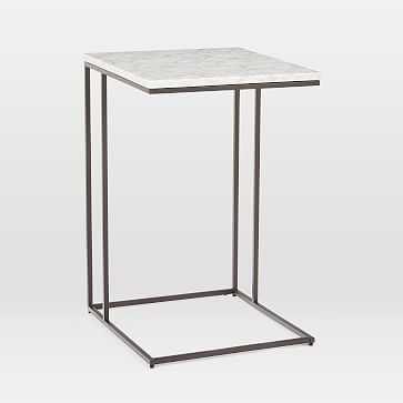 Streamline C-Side Table, Marble, Antique Bronze, Set of 2 - West Elm