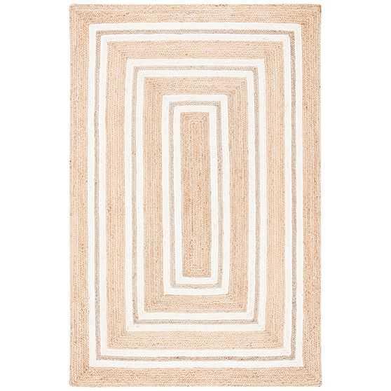 Rectangular Stripes Jute Rug, 6'x9', Natural & Ivory - West Elm