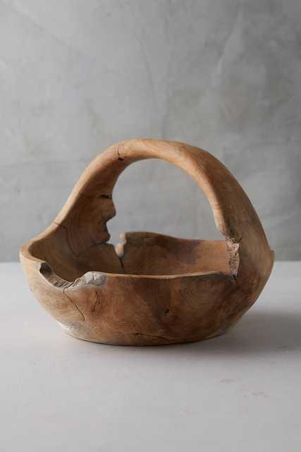 Teak Wood Basket - Anthropologie