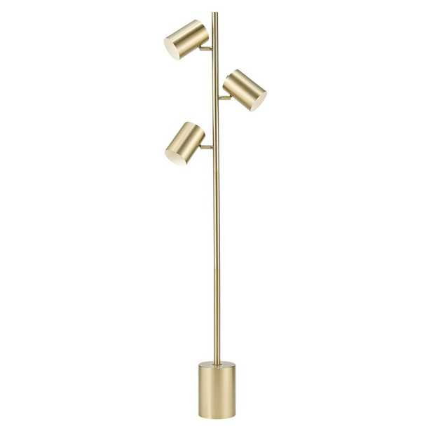 Globe Electric Pratt 63 in. 3-Light Matte Soft Gold Floor Lamp with Large Weighted Base - Home Depot