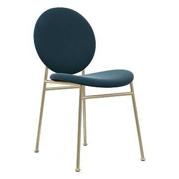 Ingrid Dining Chair, Performance Velvet, Petrol, Light Bronze - West Elm