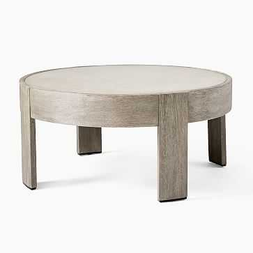 Portside Outdoor Round Concrete Coffee Table, Weathered Gray - West Elm