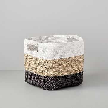 Storage Basket, Storage, White/Natural/Peppercorn - West Elm