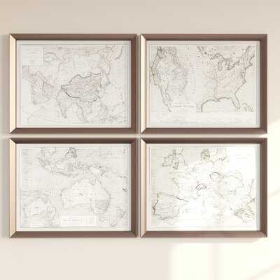 'World Maps' by Grace Feyock - 4 Piece Picture Frame Graphic Art Print Set on Wood - Wayfair