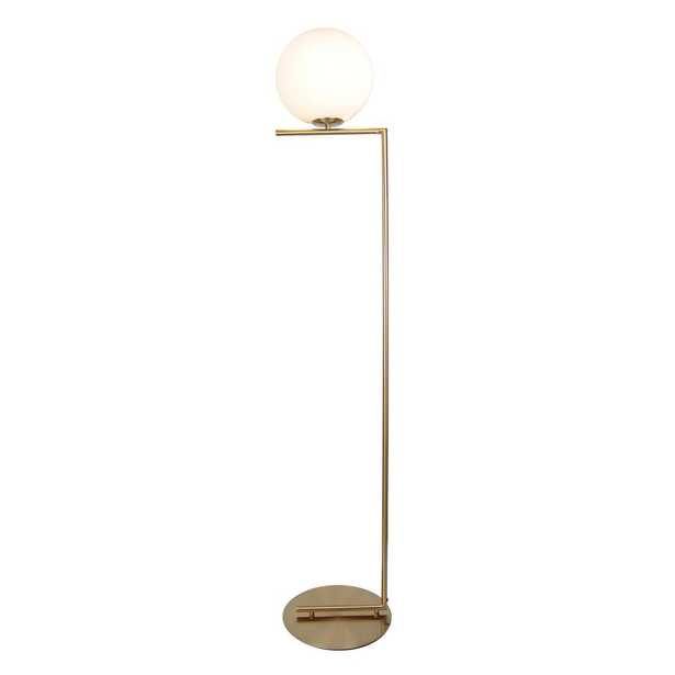 EQLight Mid Century 62 in. Satin Brass Floor Lamp with Glass Shade - Home Depot