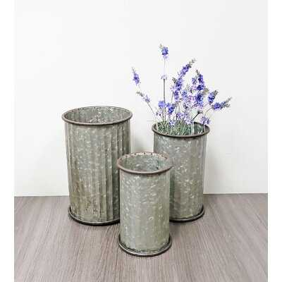 3 Piece Rodrigue White Metal Table Vase Set - Wayfair