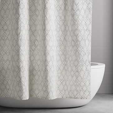 Organic Hand Drawn Diamonds Shower Curtain & Liner, Midnight - West Elm