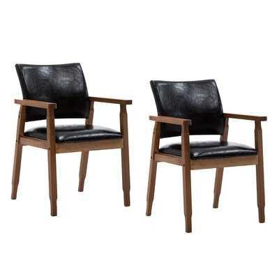 Upham Upholstered Arm Chair in Black (Set of 2) - Wayfair