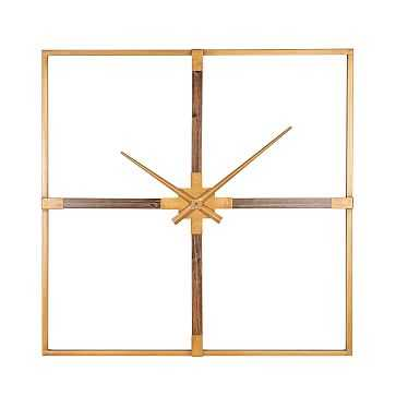 Holly Wall Clock, Gold & Wood - West Elm