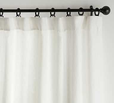 """Classic Belgian Flax Linen Curtain, Classic Ivory, 100 x 108"""", cotton lining - Pottery Barn"""