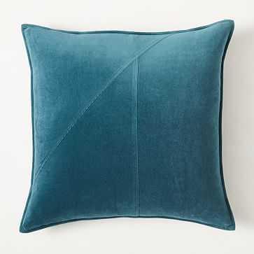 "Washed Cotton Velvet Pillow Cover, 24""x24"", Blue Teal - West Elm"