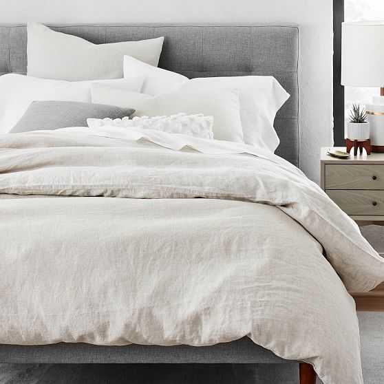 Belgian Flax Linen Duvet and Standard Sham set, Natural Flax, Full/Queen - West Elm