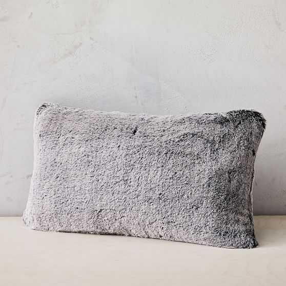 "Faux Fur Chinchilla Pillow Cover, 12""x21"", Iron Gate - West Elm"