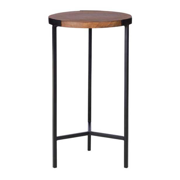 StyleWell Round Black Finish Metal End Table with Haze Finish Wood Top (12 in. W x 21.5 in. H), Haze/Black - Home Depot