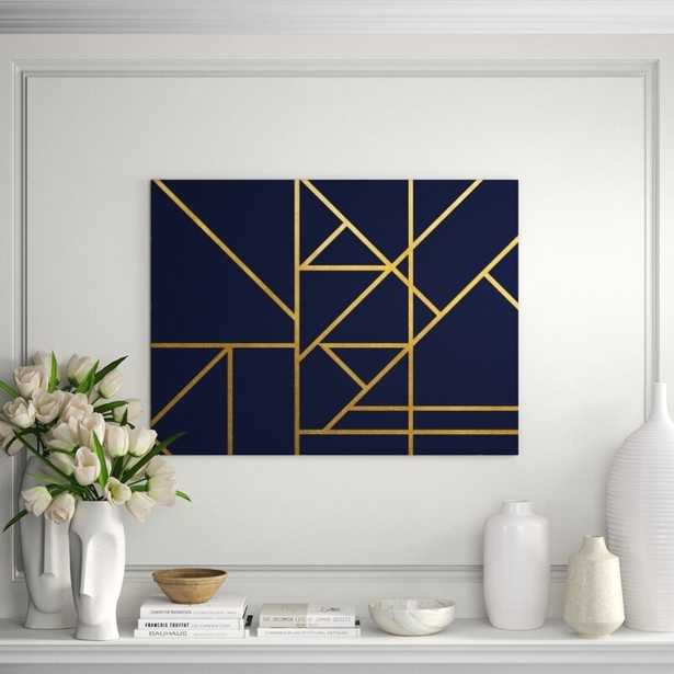 """Chelsea Art Studio 'Gold Navy and Lines IV' Graphic Art Print Format: Gild Gold, Size: 30"""" H x 40"""" W - Perigold"""