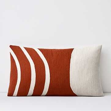 """Crewel Rounded Pillow Cover, Copper, 12""""x21"""" - West Elm"""