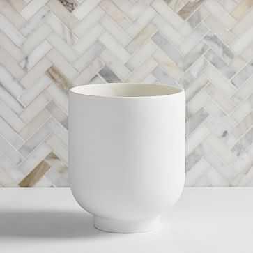 Modern Resin Stone Waste Bin, White & Antique Brass - West Elm