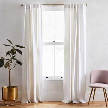 """Washed Cotton Canvas Curtain, Set of 2, 48""""x96"""", White (SET OF 2) - West Elm"""
