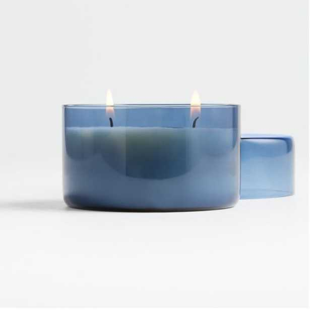 Voyager Blue Glass Candle with Lid - Crate and Barrel