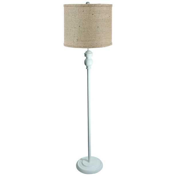 Bridgeport White Floor Lamp with Natural Burlap Shade - Style # 72X18 - Lamps Plus