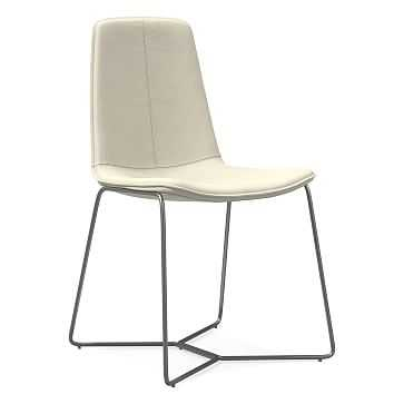 Slope Dining Chair, Vegan Leather, Snow, Charcoal - West Elm