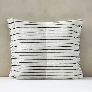 "Cotton Silk Broken Stripe Pillow Cover, 20""x20"", Stone White - West Elm"