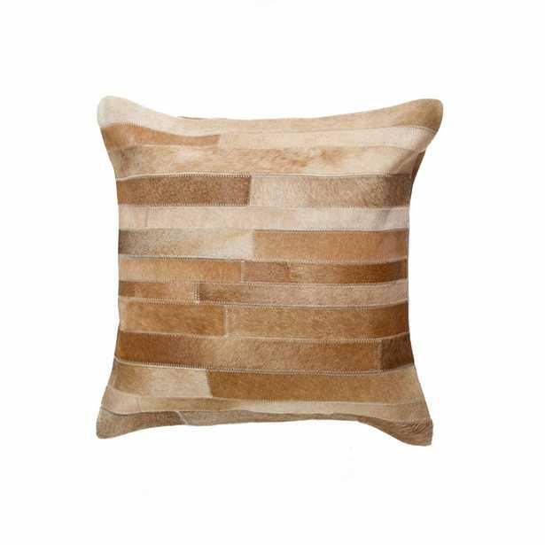 HomeRoots Josephine Brown Striped 18 in. x 18 in. Cowhide Throw Pillow - Home Depot