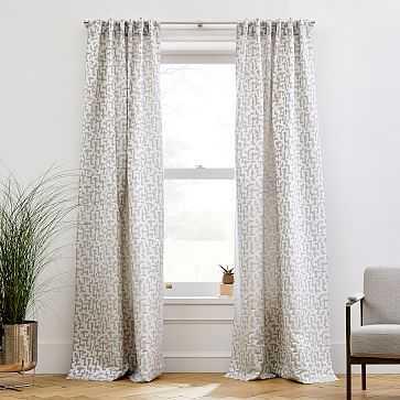 "Maze Jacquard Curtain, Frost Gray, 48""x96"" - West Elm"