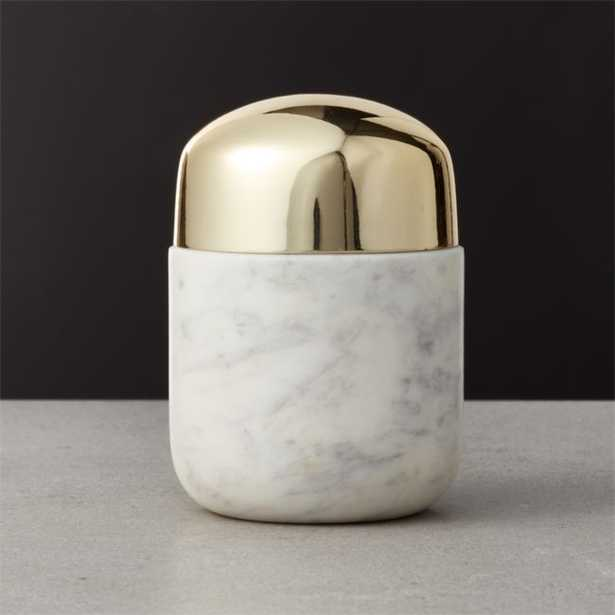 Capsule Small Marble Canister with Gold Lid - CB2