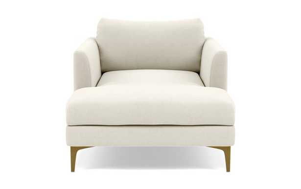 Owens Chaise Chaise Lounge with White Chalk Fabric, standard down blend cushions, and Brass Plated legs - Interior Define