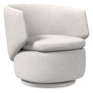 Crescent Swivel Chair, Performance Coastal Linen, Stone White - West Elm