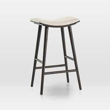 Oak Wood + Upholstered Saddle Bar Stool, Light Carbon/Essence Natural - West Elm